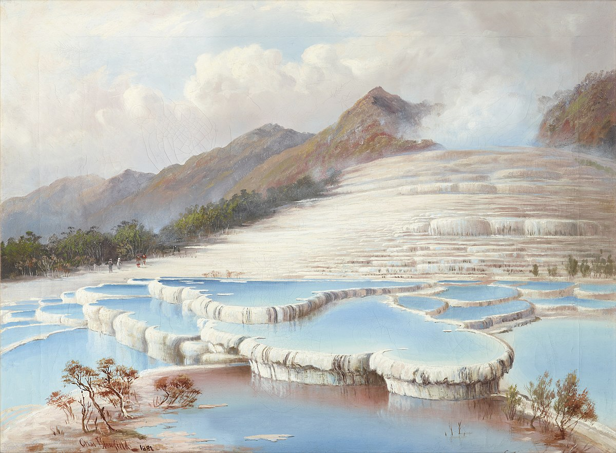 Oil painting of the Pink and White Terraces, near Mt. Tarawera