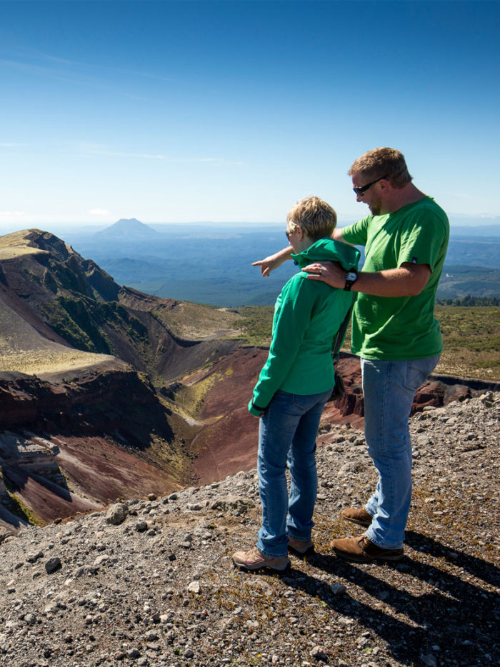 Couple looking over the Mt. Tarawera crater